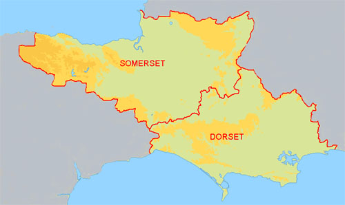 Map showing the counties of Somerset & Dorset which is the area covered by the region of the MGF Register.